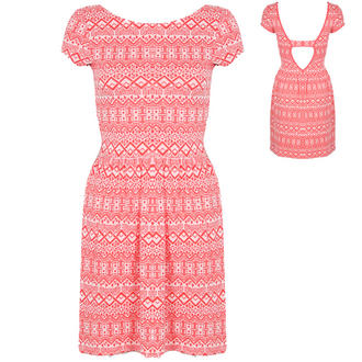 View Item Coral and White Aztec Skater Dress